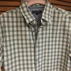 Banana Republic Mens Medium Green Plaid Shirt